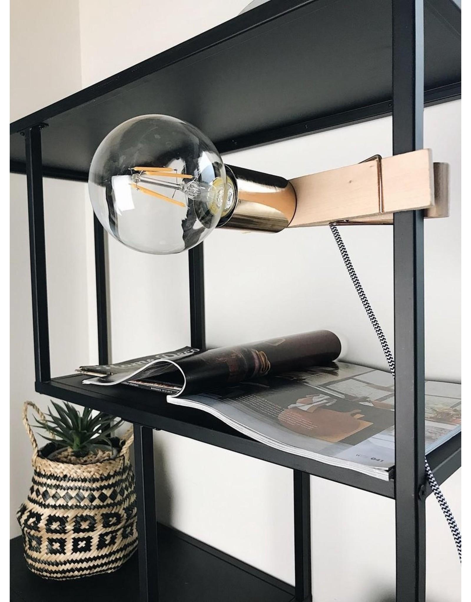 Parya Home Parya Home - Houten Knijper Lamp - Gouden Fitting
