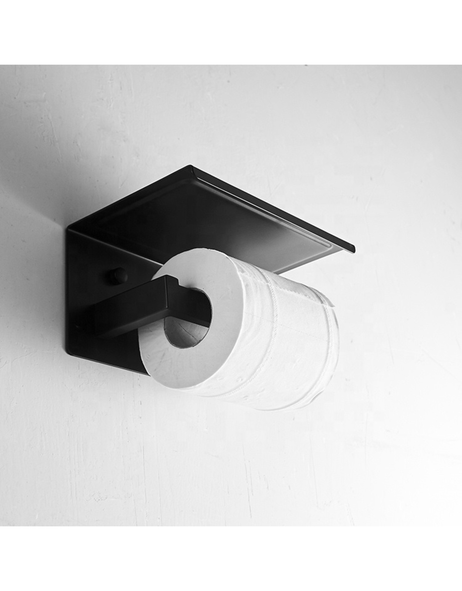 Parya Home Parya Home - Toilet roll holder - With Phone holder - Black