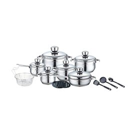 Royalty Line Royalty Line - Pots and pans set - 18-piece - Stainless steel - With frying pan