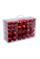 Parya Home Parya Home - rode plastic/kunststof kerstballen 100 stuks in 3 formaten