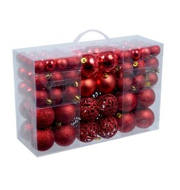 Parya Home Parya Home - red plastic Christmas balls 100 pieces in 3 sizes