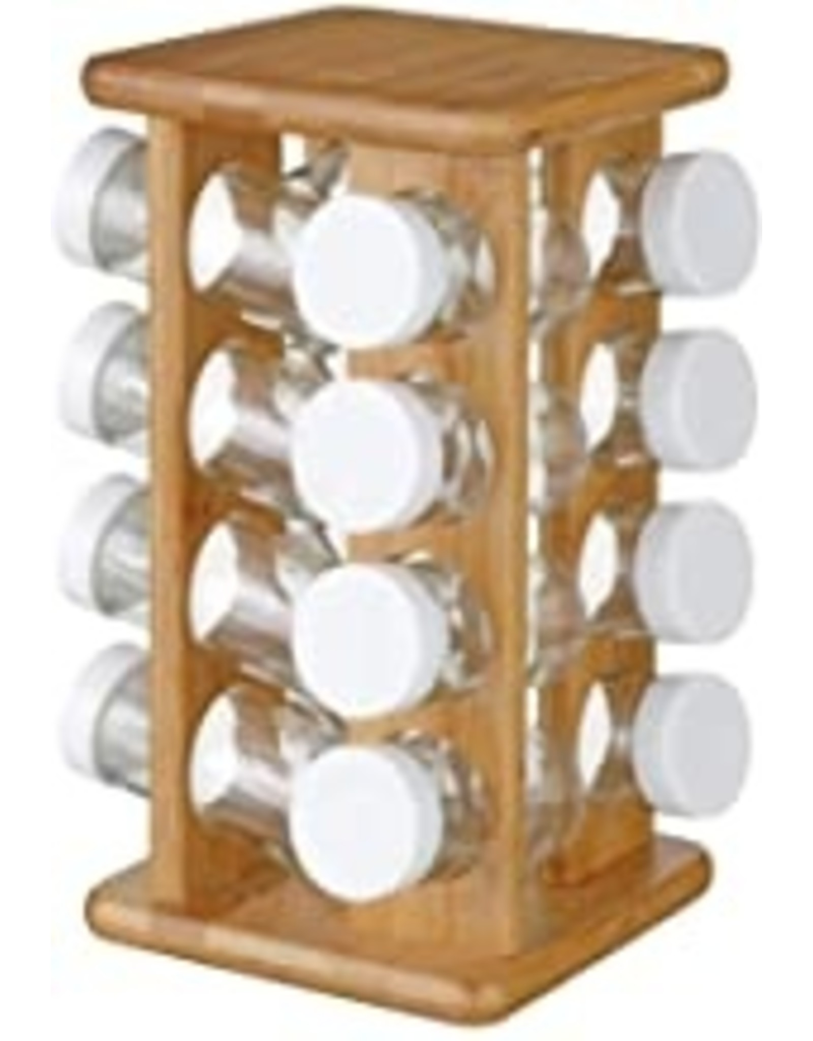 Kruidenrek van bamboe - 16 glazen potjes + draaibare houder
