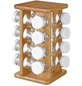 Bamboo spice rack - 16 glass jars + revolving holder