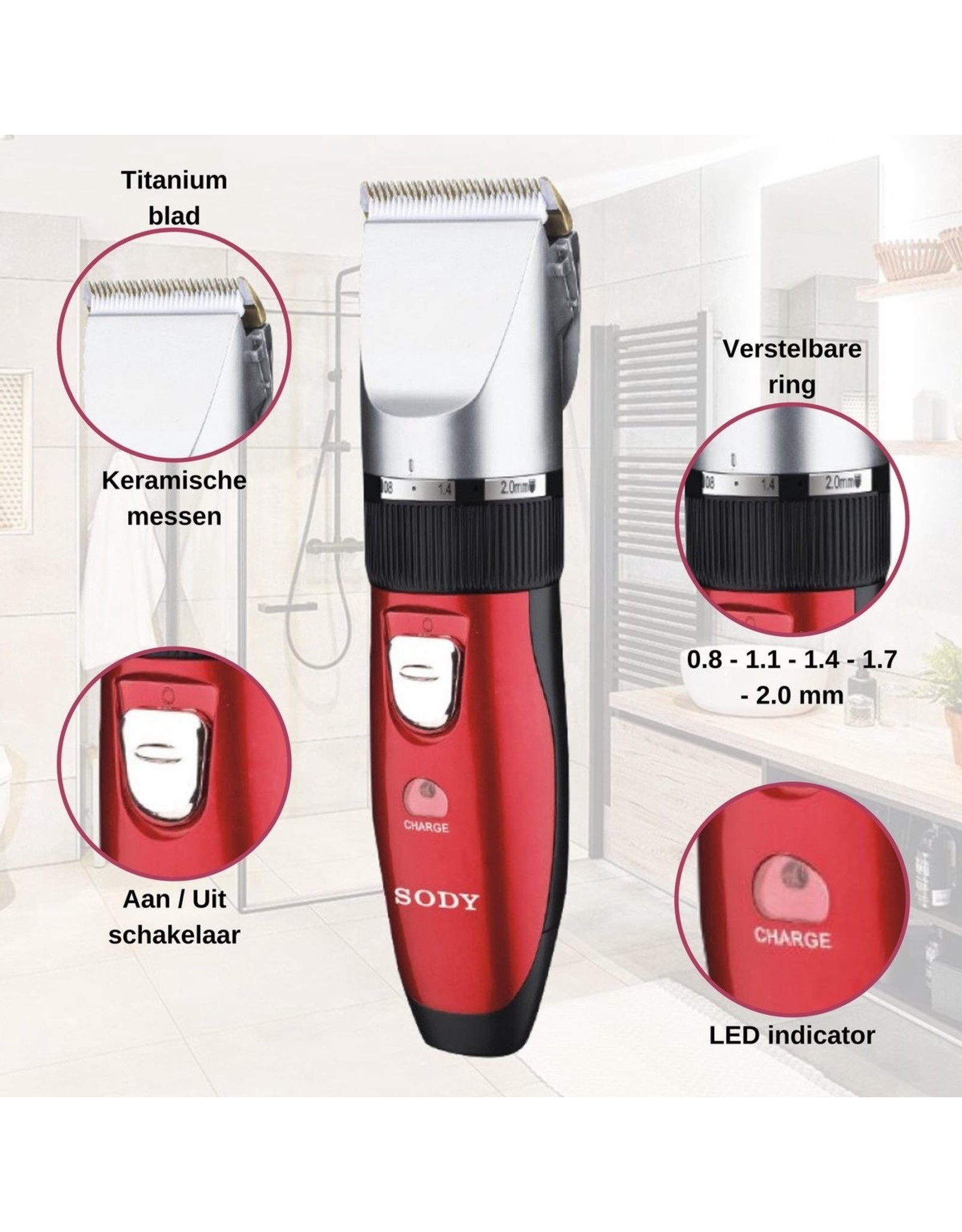 SODY SODY - SD2013 - Trimmer Set - Rechargeable - Red