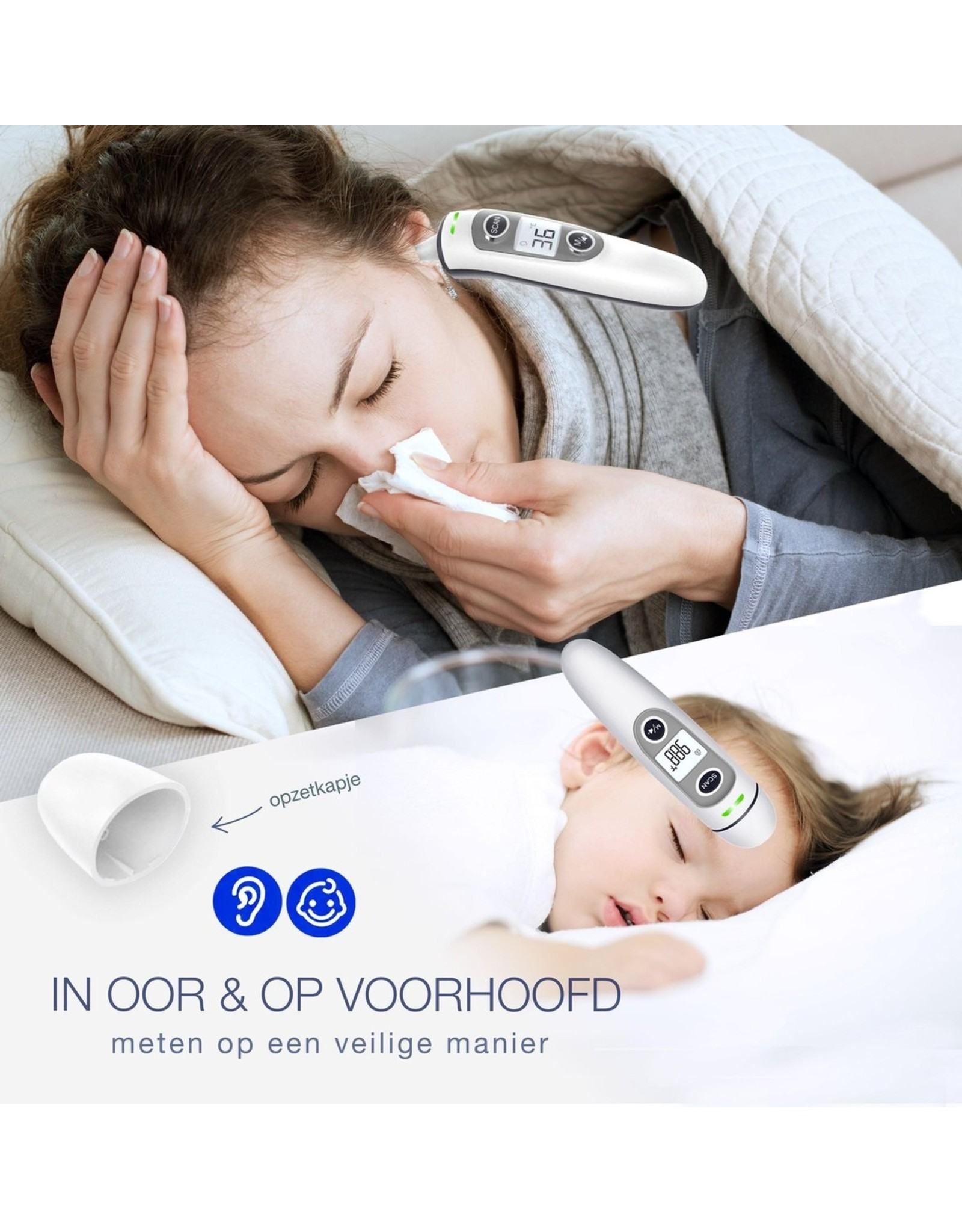 Parya Official Parya Official - Voorhoofdthermometer - Grijs