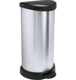 Curver Decobin Prullenbak - Pedaalemmer - 40l - Zilver Metallic