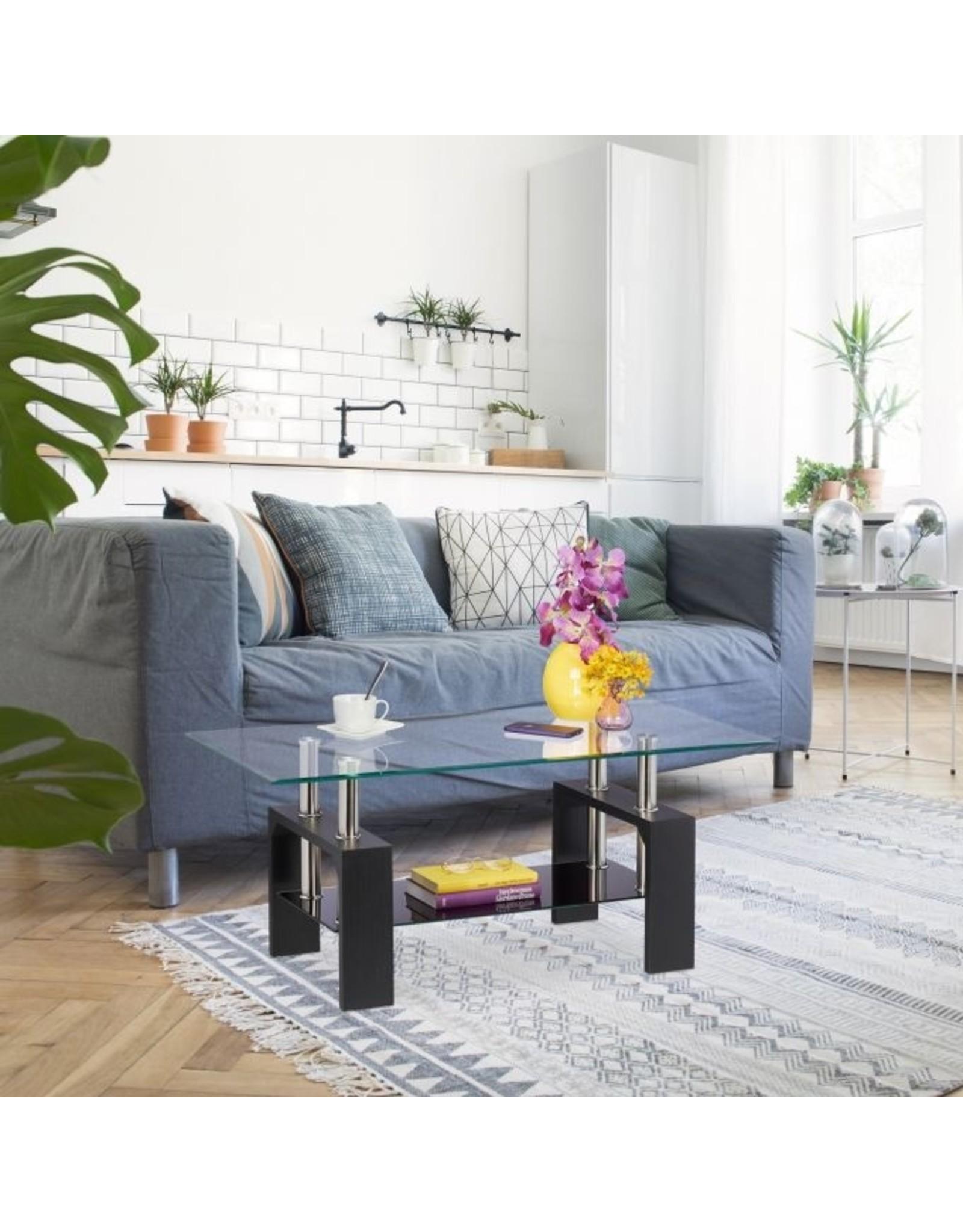Parya Home Parya Home - Glazen Salontafel - Zwart