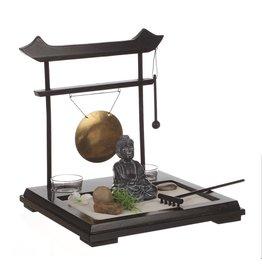 Atmosphera Atmosphera - Buddha Zen Garden Set On Wooden Platform With Gong - 26x26x11cm