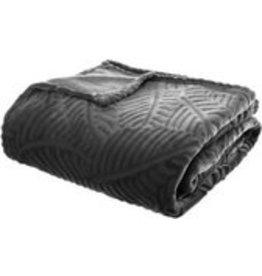 Atmosphera Plaid   Anthracite Grey   Fleece plaid with palm leaf pattern   Blanket   240x220cm