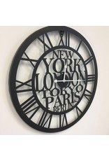 Atmosphera Atmosphera - Metal wall clock - World cities - Roman numerals - Diameter Ø60cm