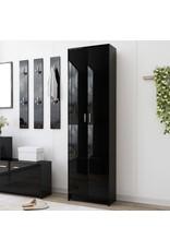 Gangkast 55x25x189 cm spaanplaat hoogglans zwart