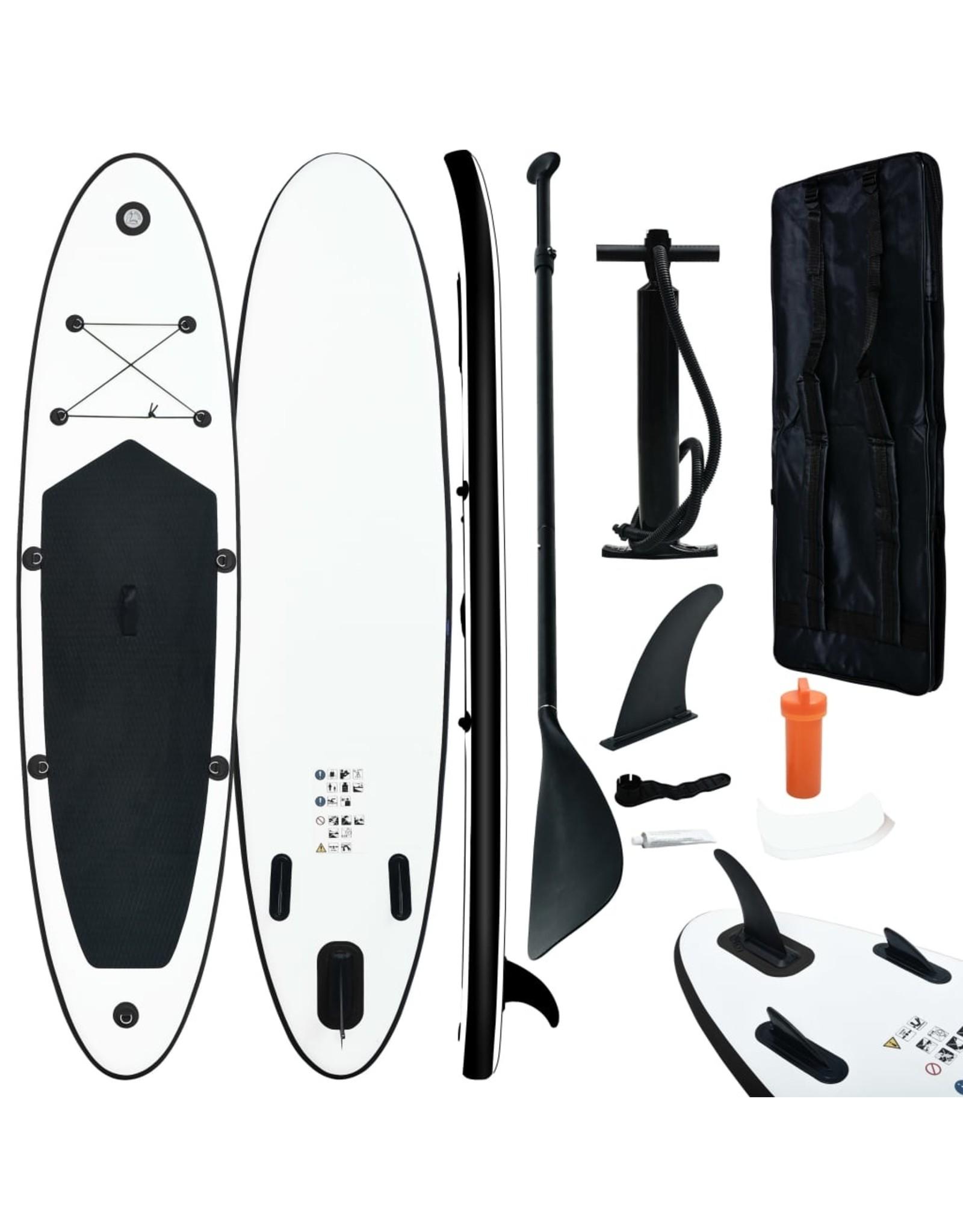 Stand Up Paddleboardset opblaasbaar zwart en wit