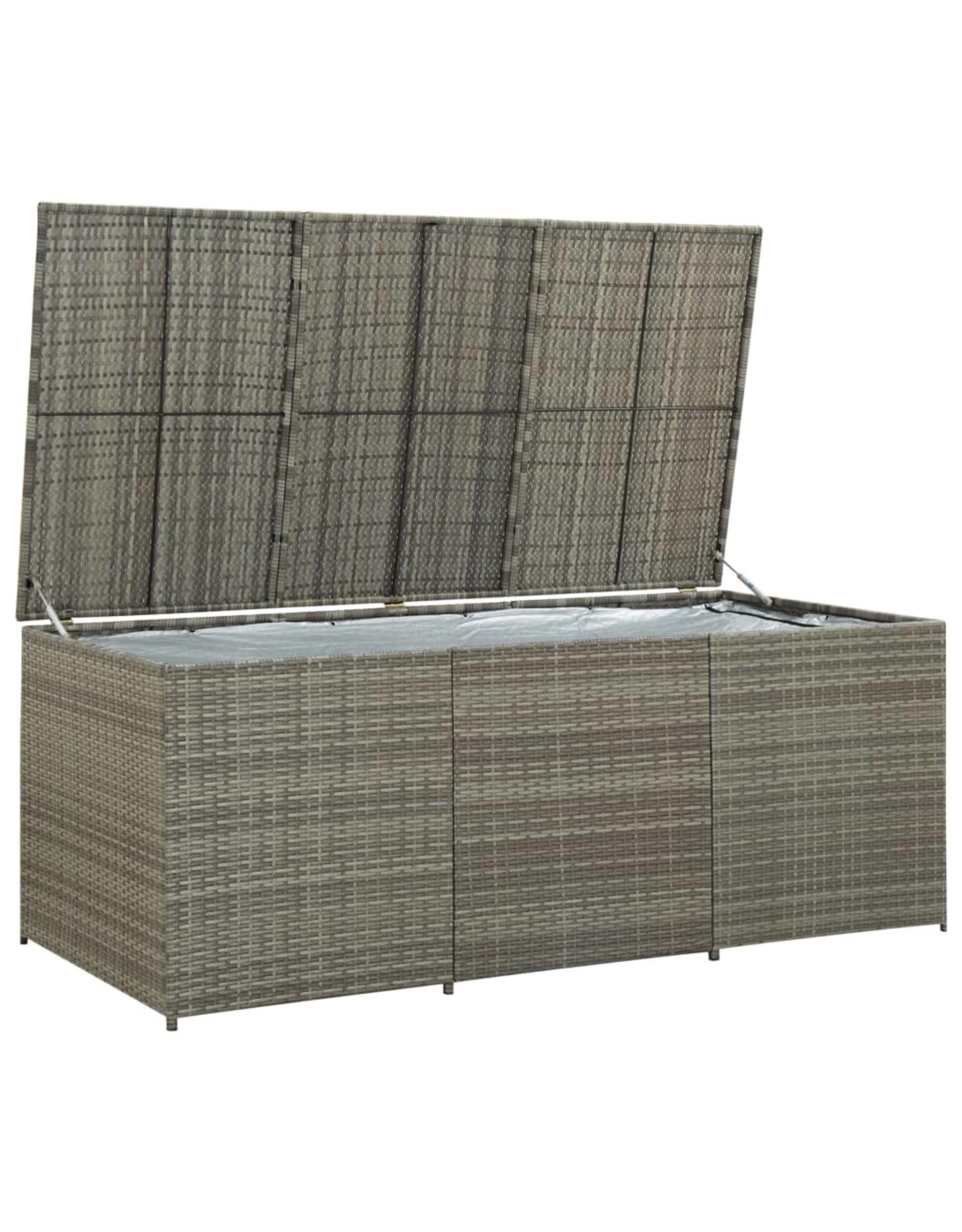 Tuinbox 180x90x75 cm poly rattan grijs
