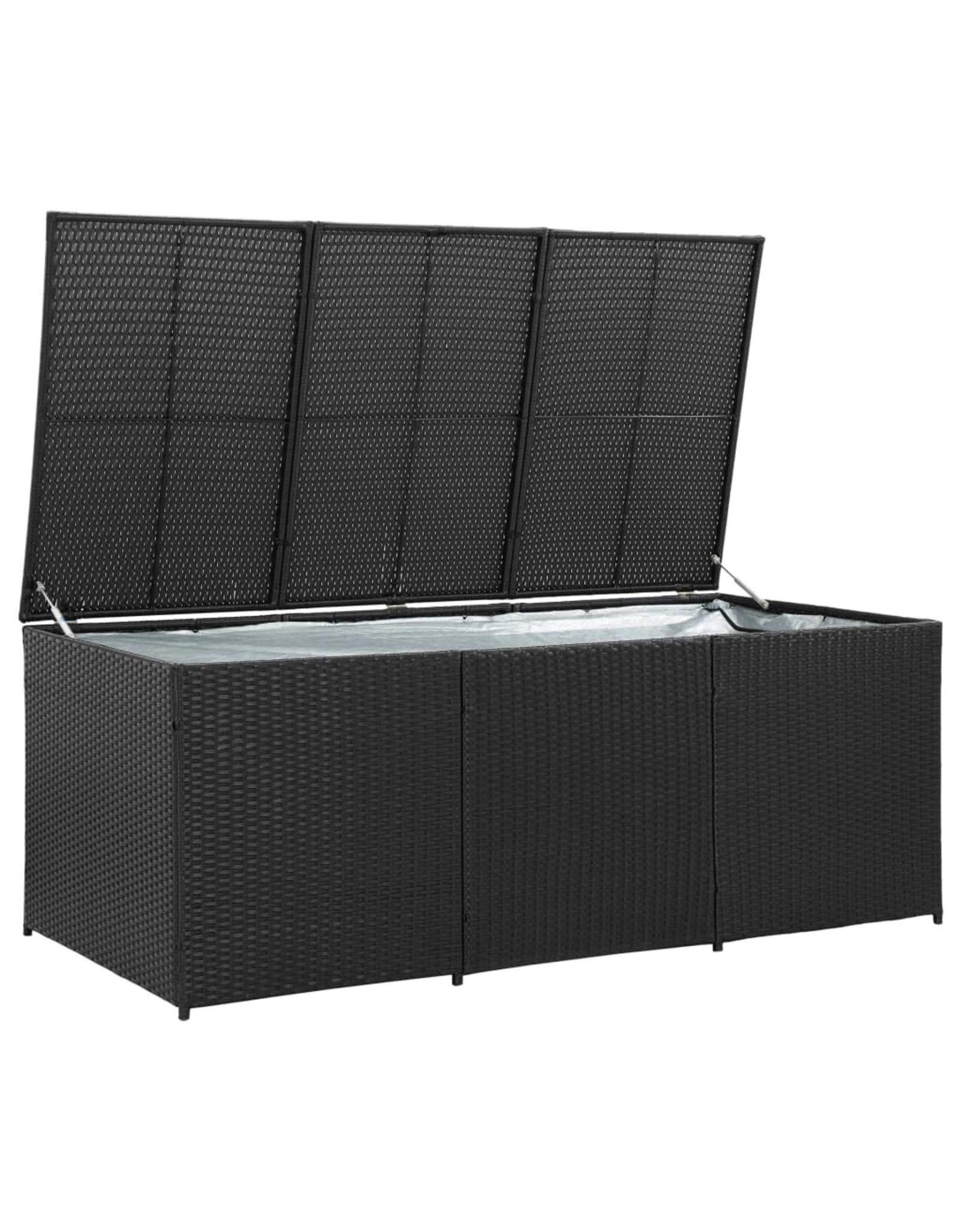 Tuinbox 180x90x75 cm poly rattan zwart