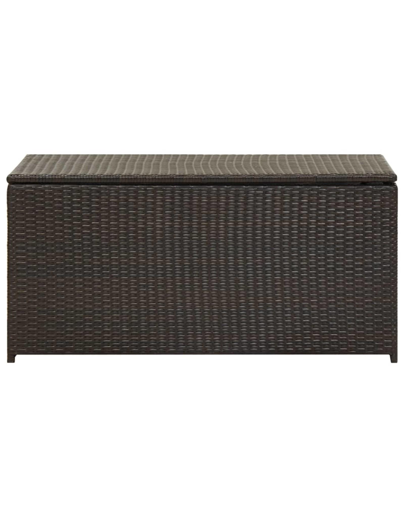 Tuinbox 100x50x50 cm poly rattan bruin