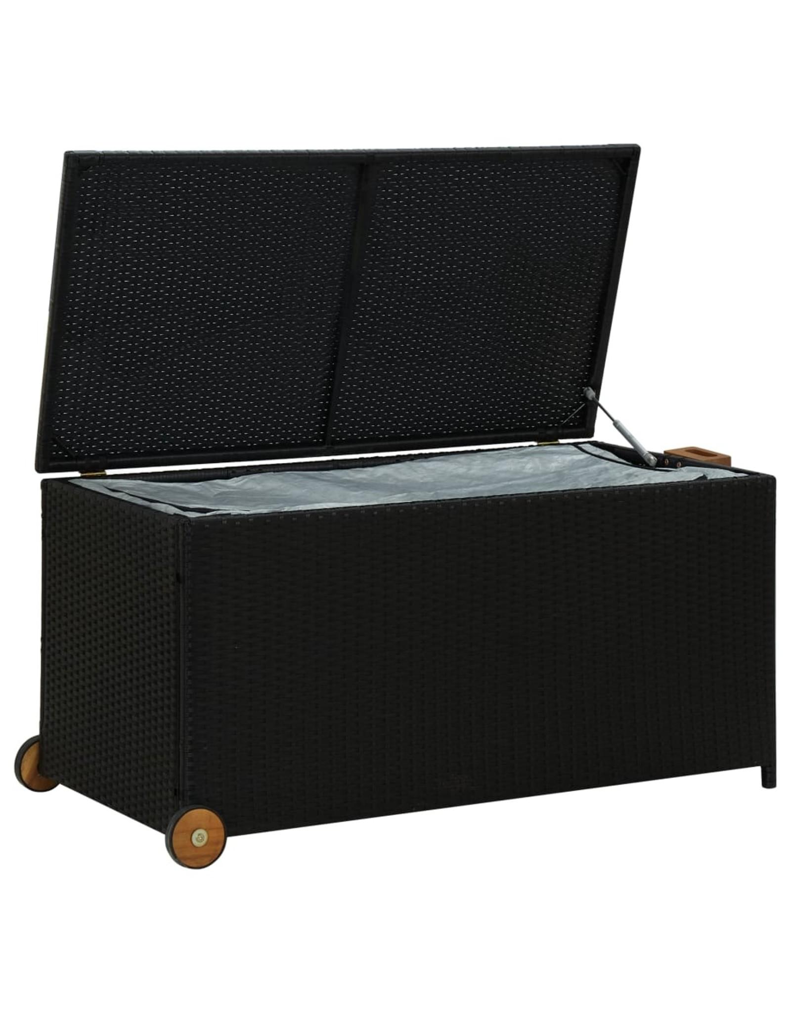 Tuinbox 130x65x115 cm poly rattan zwart