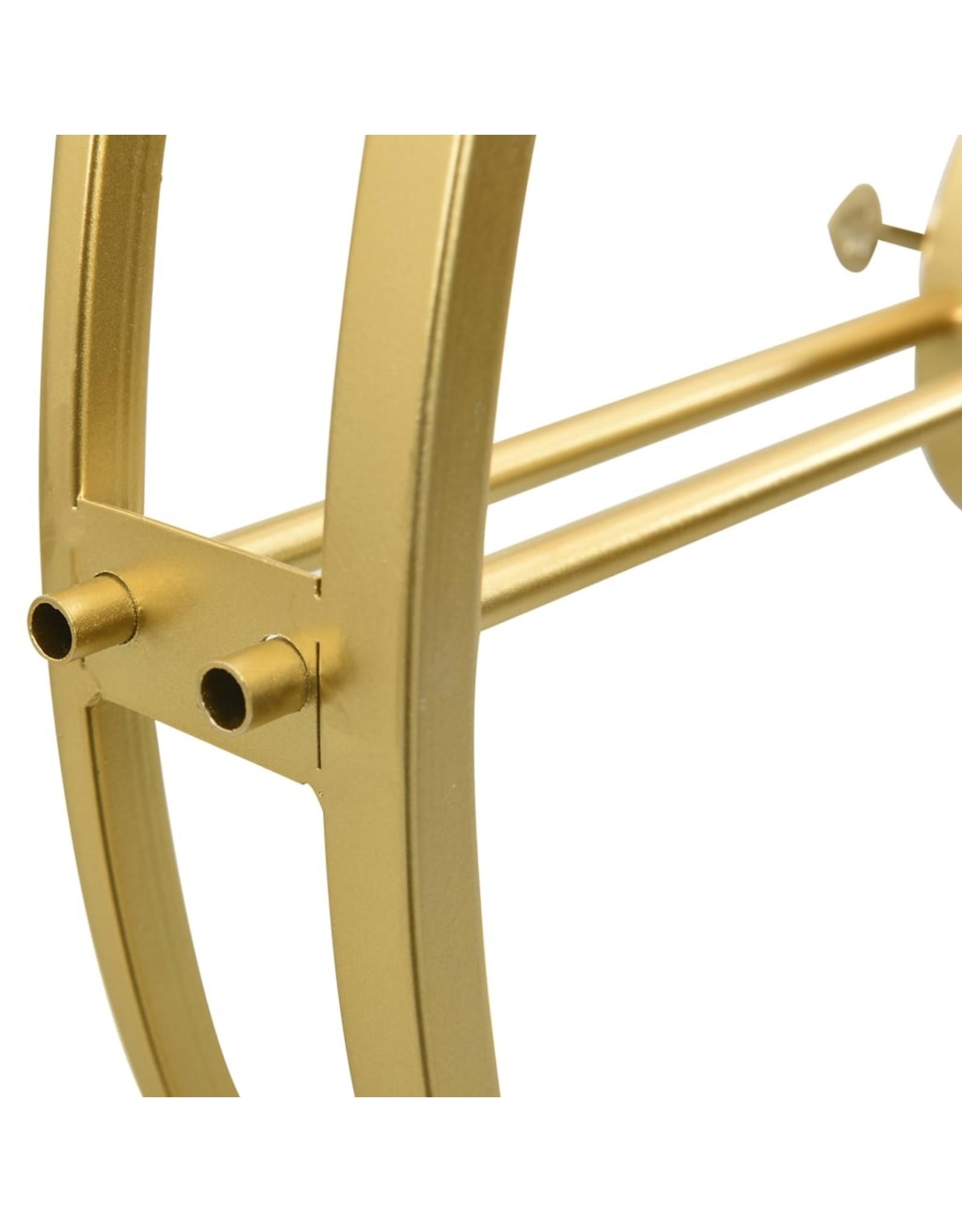 Wandklok 52 cm ijzer goudkleurig