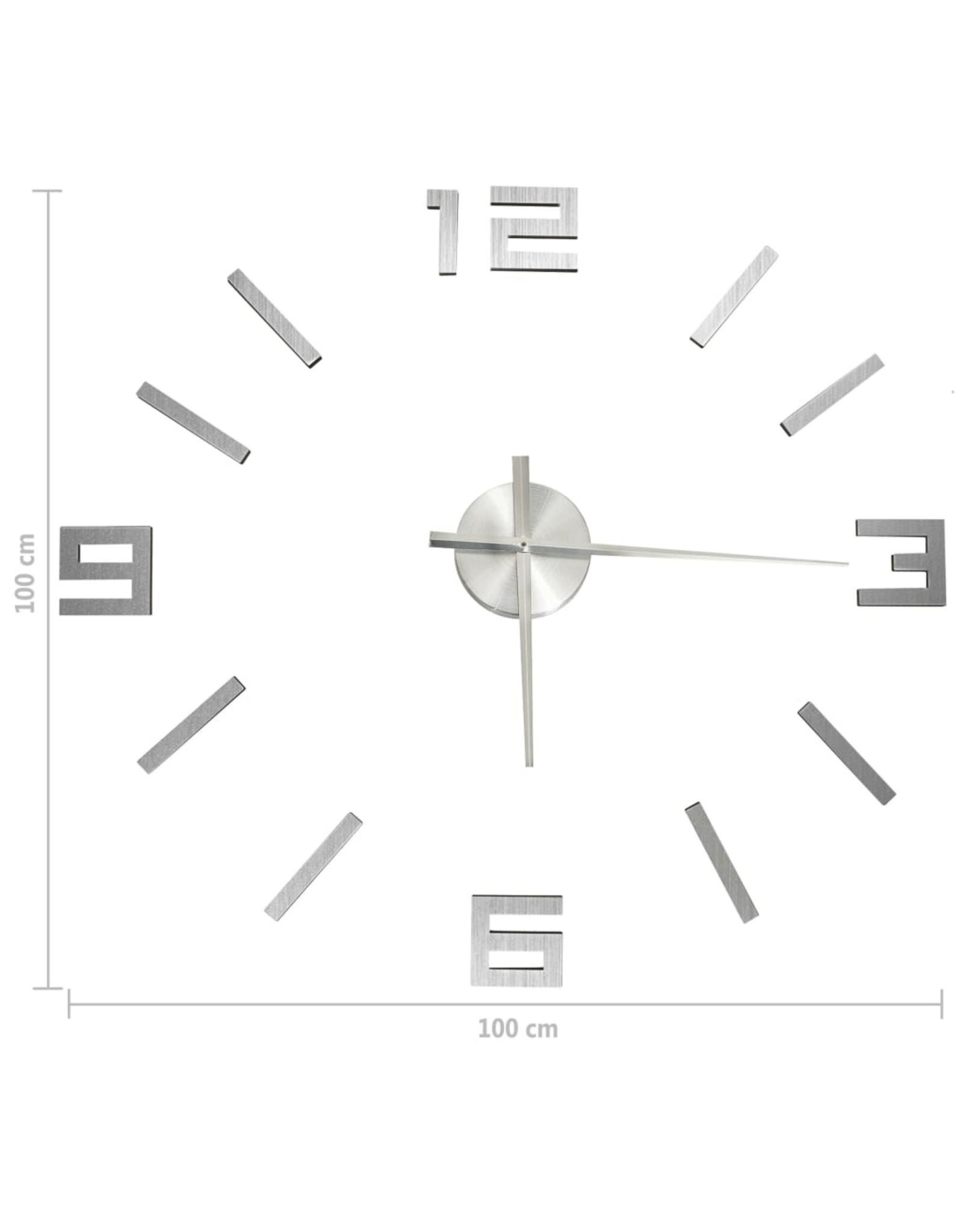 3D-wandklok modern XXL 100 cm zilverkleurig