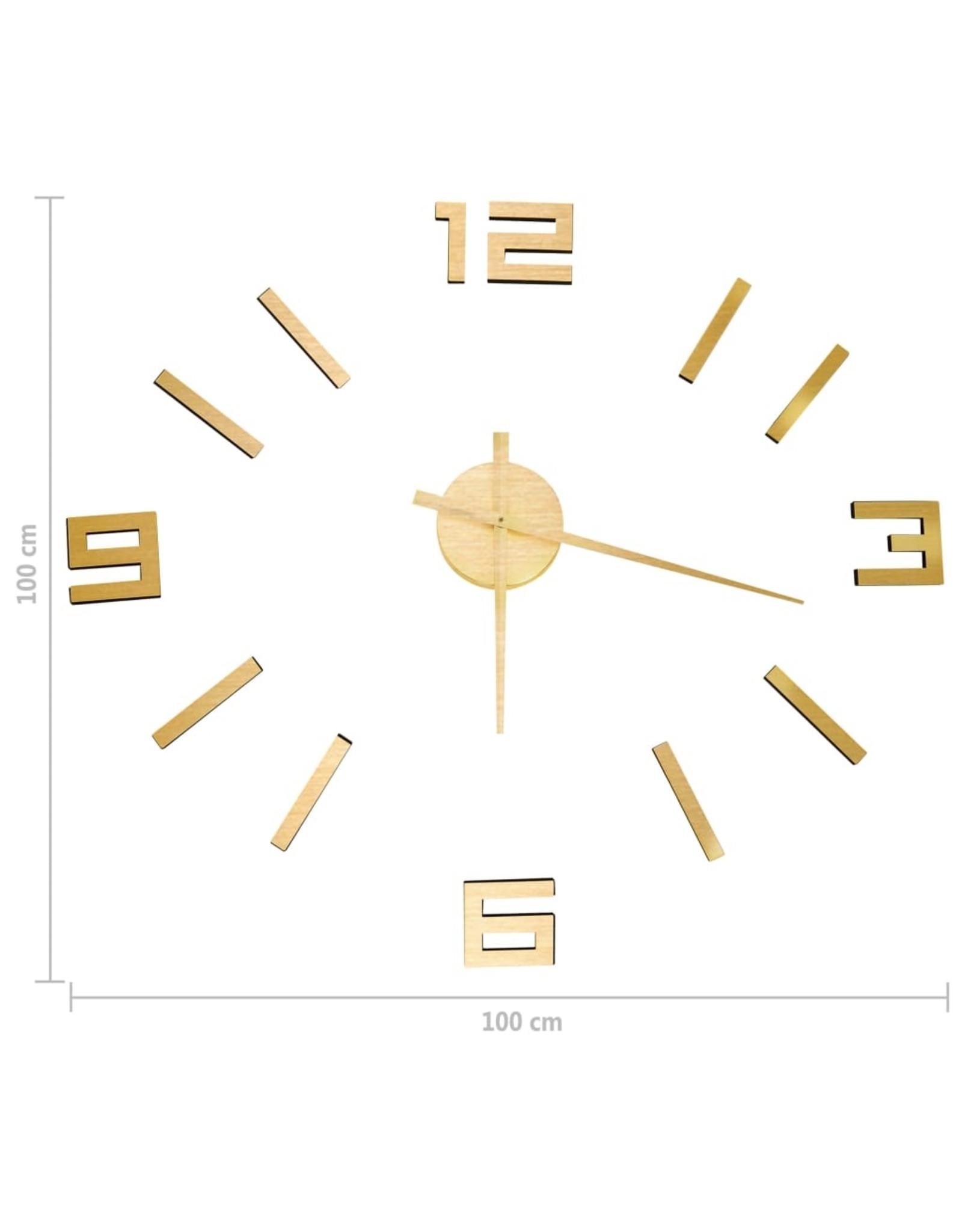 3D-wandklok modern XXL 100 cm goudkleurig