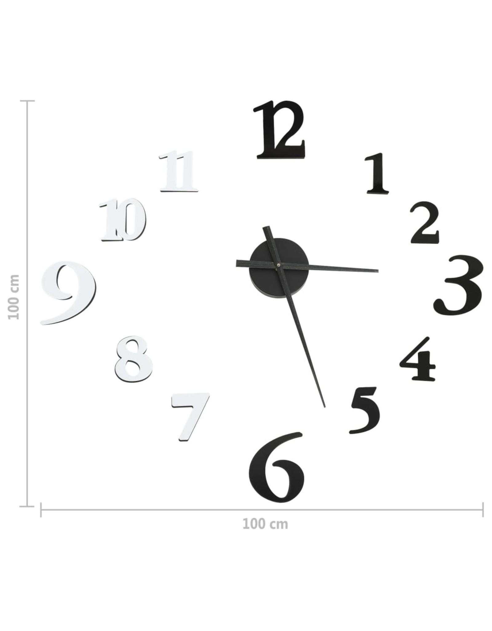 3D-wandklok modern XXL 100 cm zwart en wit