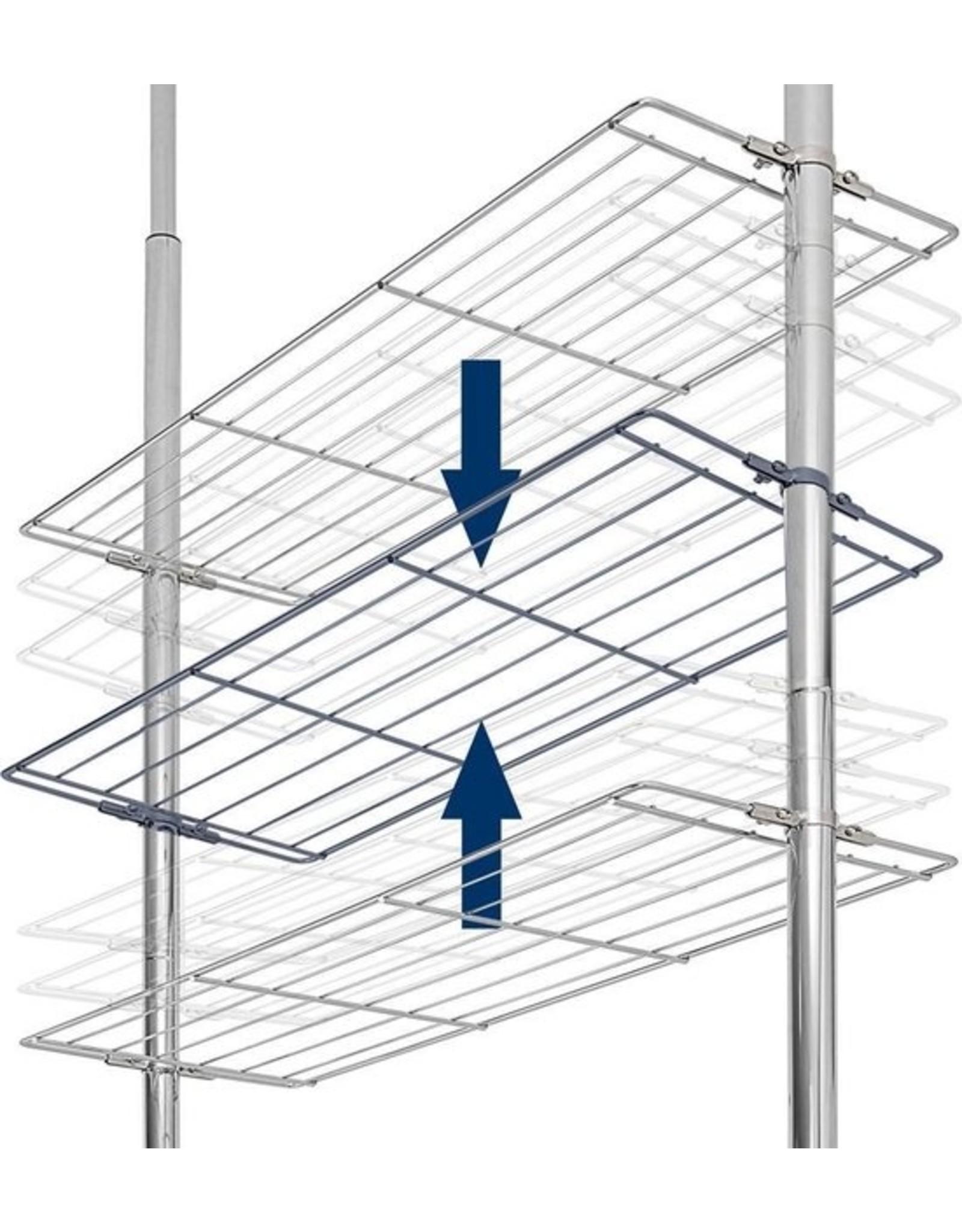 Telescopische Doucherek - Verstelbaar - 3 planken-  Metaal