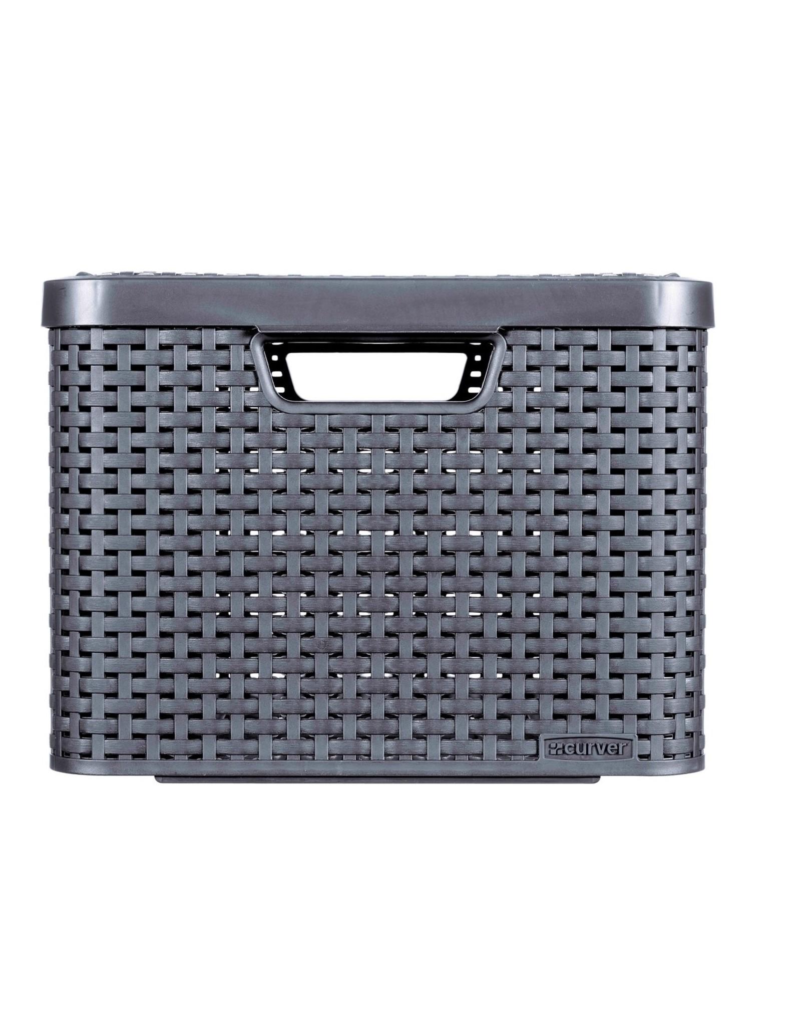 Curver - Rattan Style Opbergmand - Maat L - Met Deksel - Antraciet