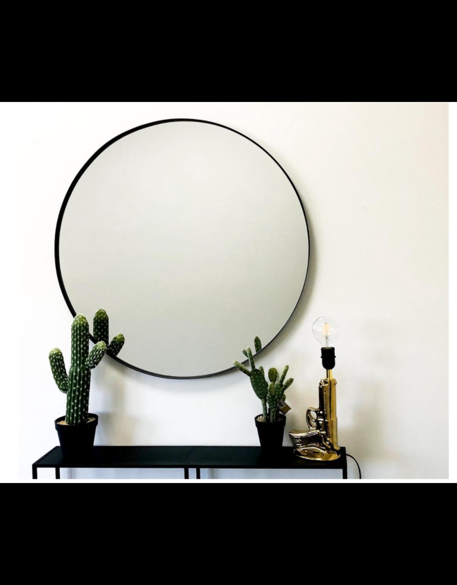 Ronde Metalen Spiegel-Zwart-80cm-Housevitamin