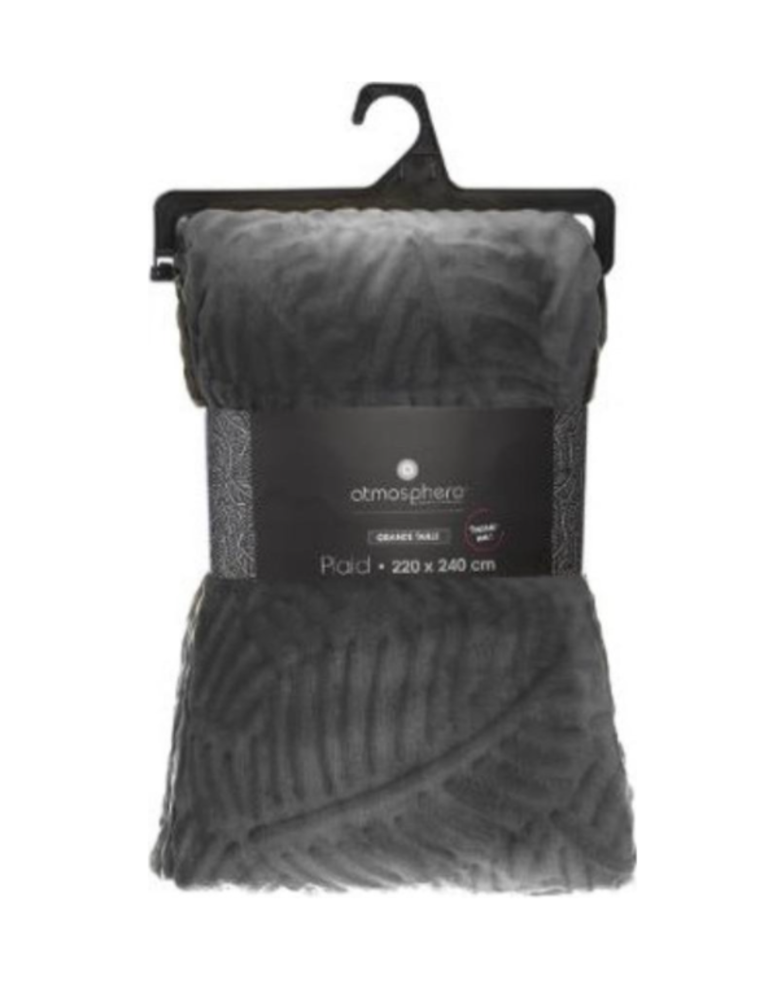 Atmosphera Plaid | AntracietGrijs | Fleece-plaid met palmblad patroon | Deken | 240x220cm