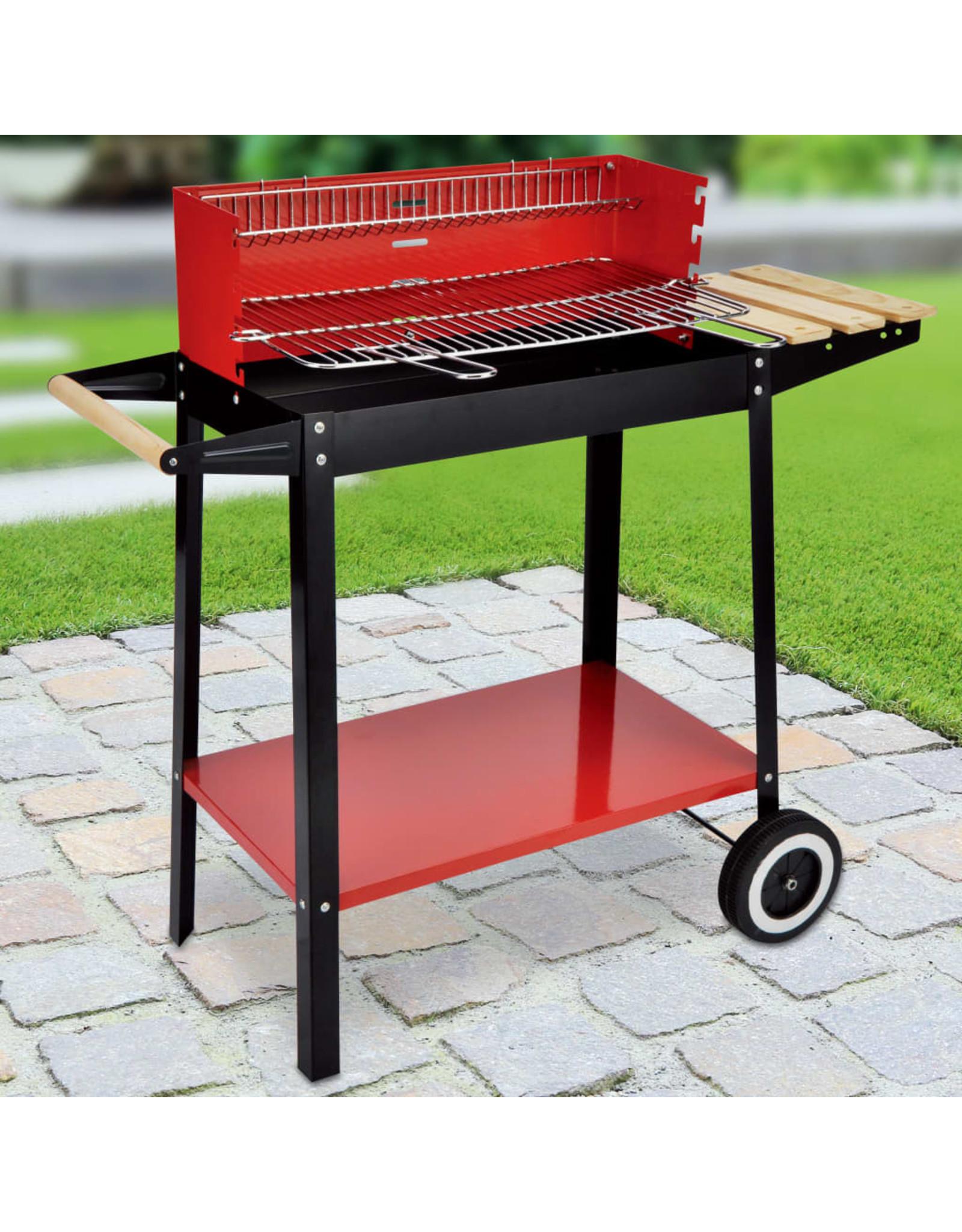 HI Barbecuewagen houtskool 88x44x83 cm rood