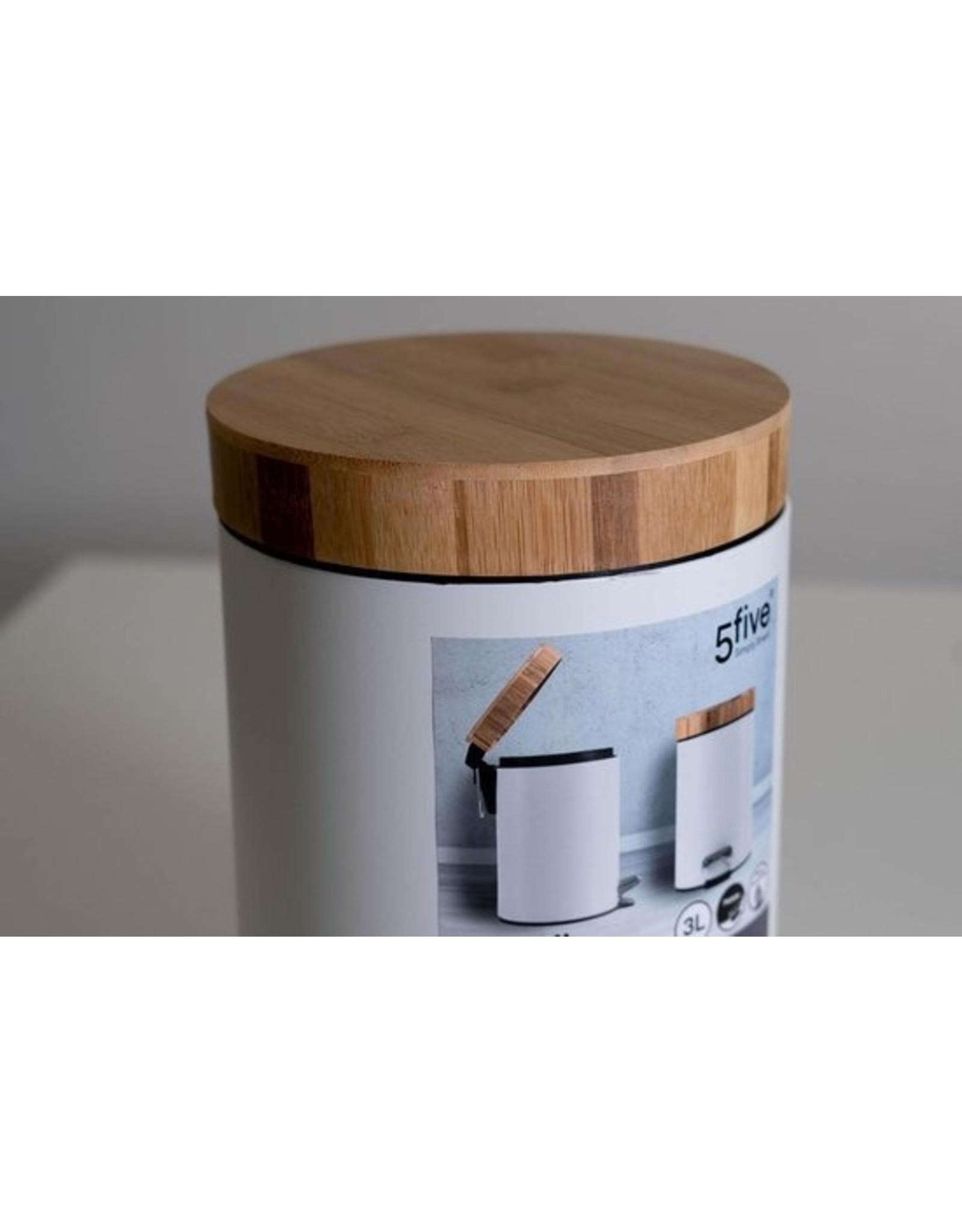 5Five - Witte Pedaalemmer - 3 Liter - Wit
