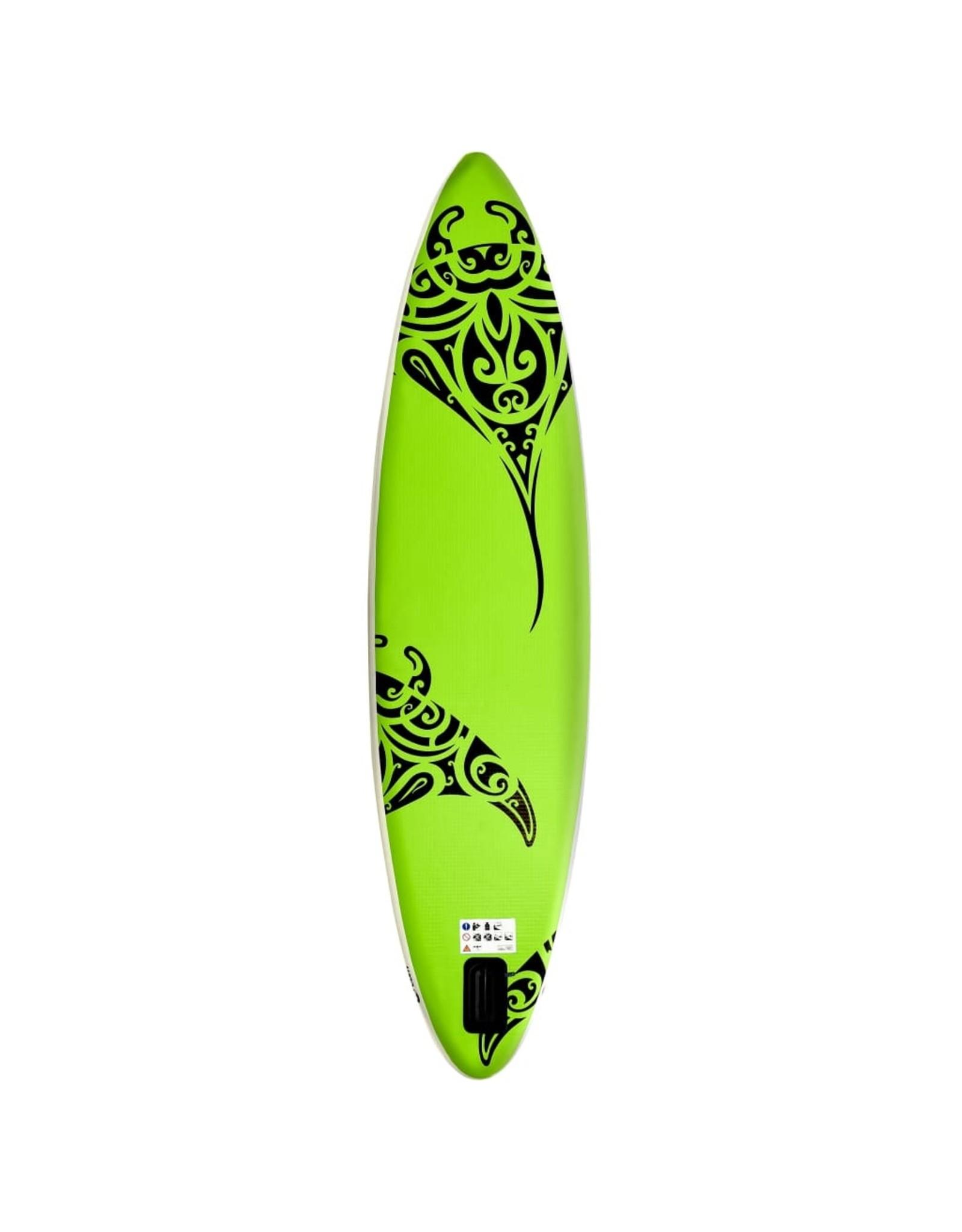 Stand Up Paddleboardset opblaasbaar 320x76x15 cm groen