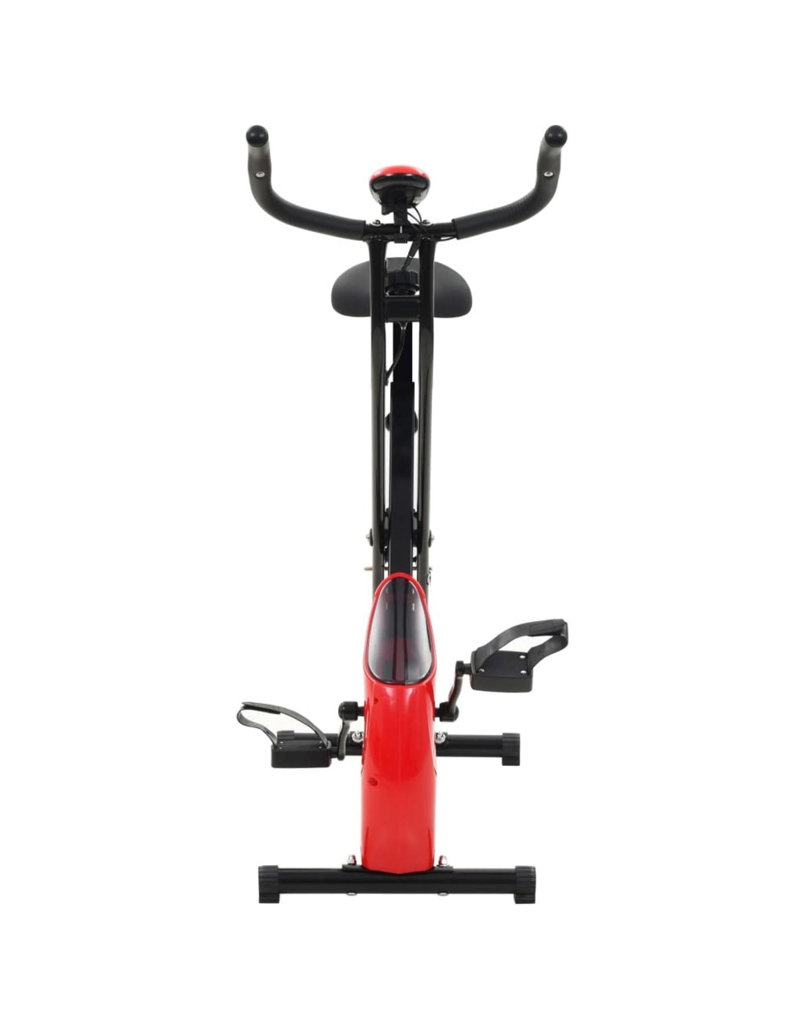 Hometrainer X-bike magnetisch met hartslagmeter zwart en rood