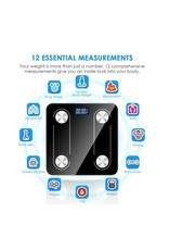 Parya Official Parya Official - Digitale Personenweegschaal - Bluetooth - Volledige Lichaamsanalyse - Zwart