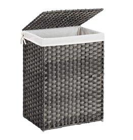Parya Home Parya Home - Handwoven Laundry Basket - 90 Liter - Includes Lid & Handles - Grey