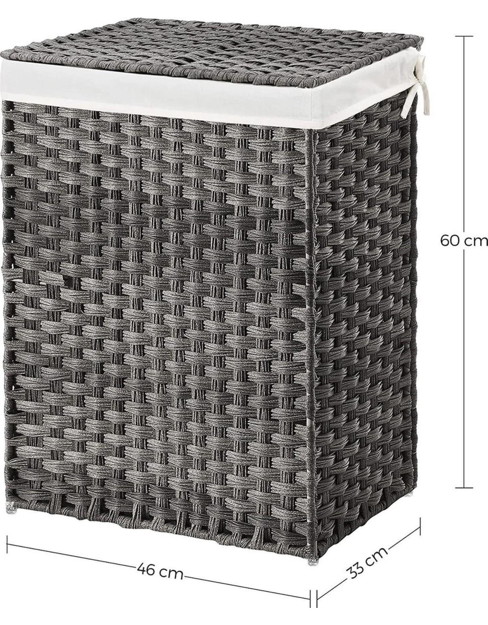 Parya Home Parya Home - Handgeweven Wasmand - 90 Liter - Inclusief Deksel & Handvatten - Grijs
