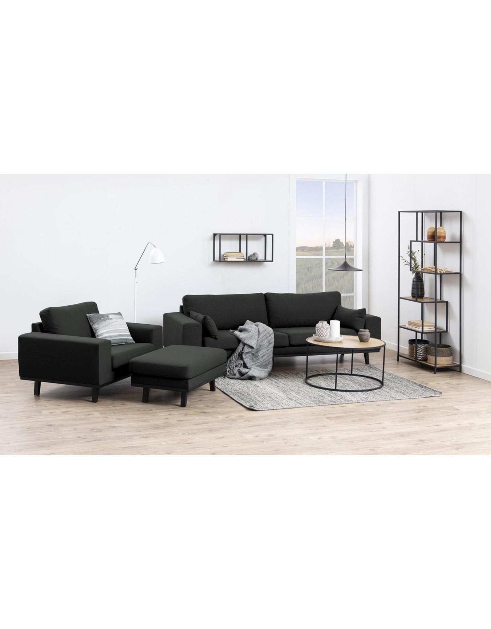 Parya Home Parya Home - Metalen Wandrek - 2 Planken - Liggend - Houtenplanken - Zwart