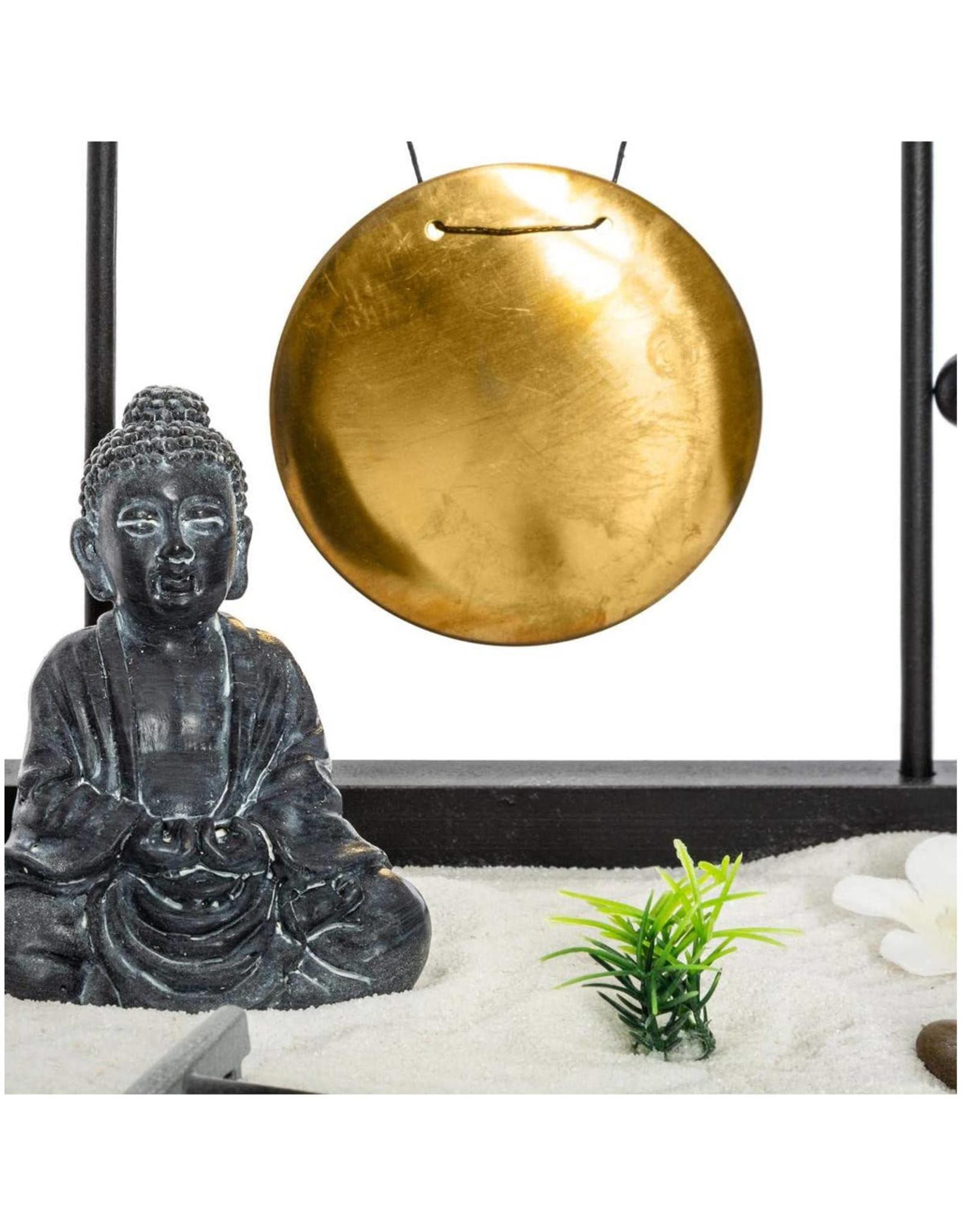 Atmosphera Atmosphera - Buddha Zen Tuinset Op Houten Plateau Met Gong- 26x26x11cm