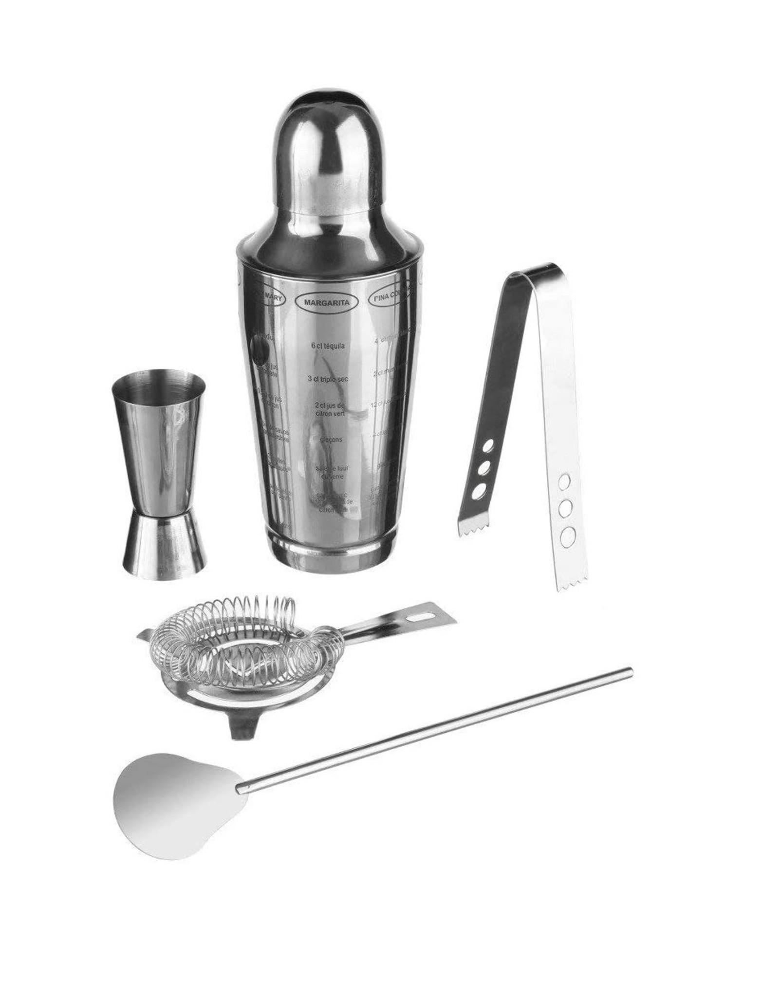 Secret de Gourmet - Cocktailset - Cocktailshaker - Roestvrijstaal - 600ml Shaker - 5 delig