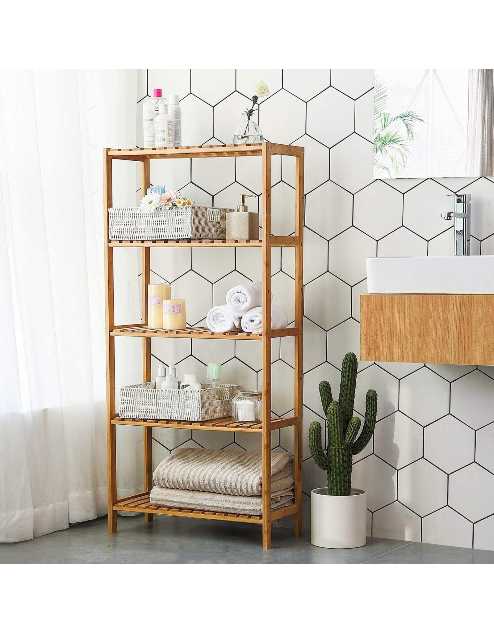 Parya Home Parya Home - Badkamer Rek met 5 Etages - Opbergrek met Verstelbare Planken - Bamboe
