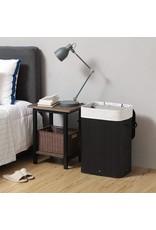 Parya Home Parya Home - Bamboe Wasmand - Deksel, Katoenen Zak en Handvaten - 72L - Zwart