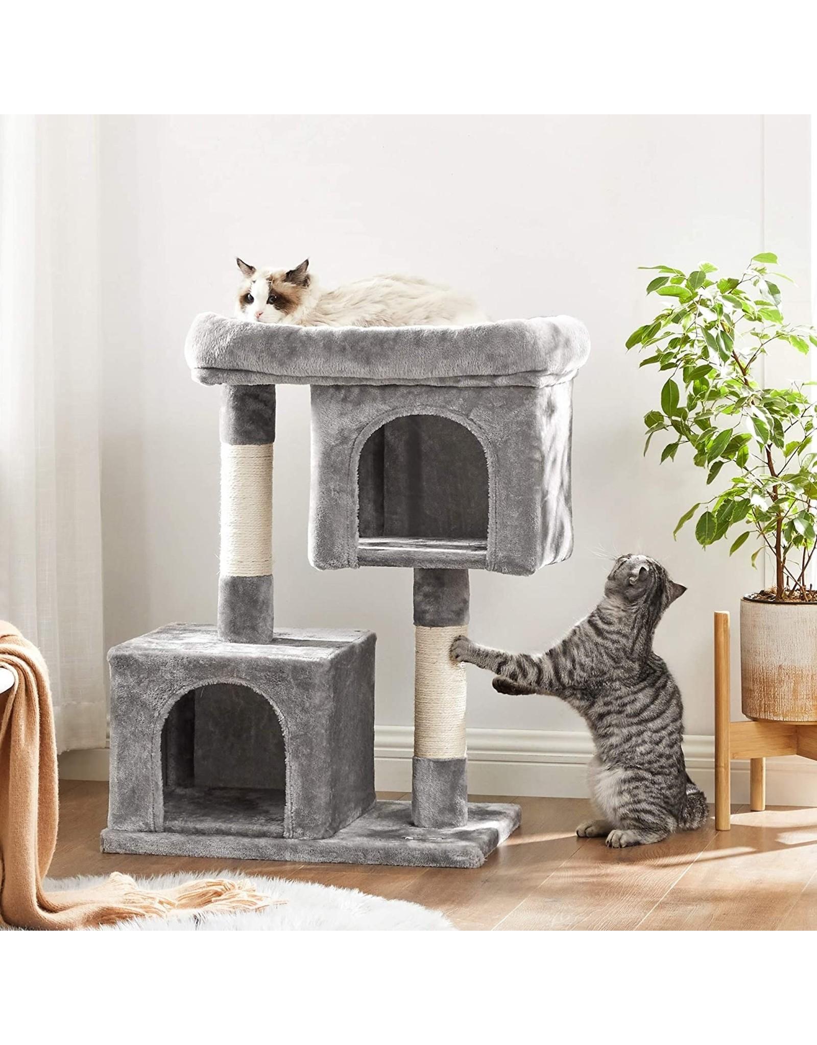 Parya Pets Parya Pets - Kattenboom - Krabpaal - 2 Pluche Condos - Grijs