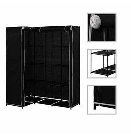 Hoekkledingkast 130x87x169 cm zwart