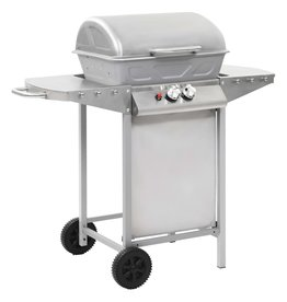 Gasbarbecue en grill met 2 kookzones roestvrij staal zilver