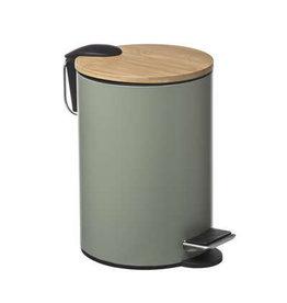 5Five - Pedaalemmer met Bamboe Deksel -  Vuilnisbak - 3 L