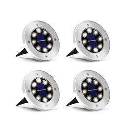 4x LED Grondspots - Solar Tuin Set