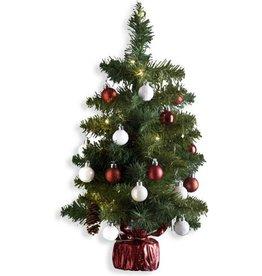 Kunstkerstboom versierd H50 cm - Met verlichting en kerstballen - Kerstboom