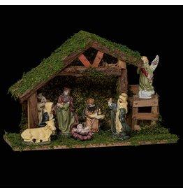 Kerststal met 8 figuren- L 31,5 cm x 12,5 cm - Porselein- Hout