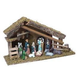 Kerststal met 10  figuren- L 38 cm x 14 cm x 22 cm - Porselein- Hout