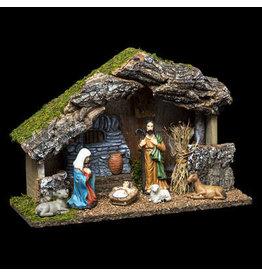 Kerststal met 6  figuren- L 30 cm x 12 cm x 20 cm - Porselein- Hout