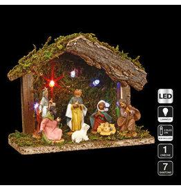 3-in-1 kerstset: 1 kerststal + 7 kerstfiguren + 1 ledverlichting